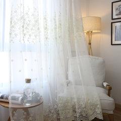 欧式刺绣白纱窗帘纱亚麻窗帘高档绣花窗纱白色纱帘阳台纱 不带帘头+平型