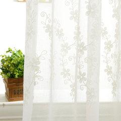 精致植绒刺绣绣花窗纱窗帘定制 田园风格纱帘 飘窗阳台 不带帘头+平型