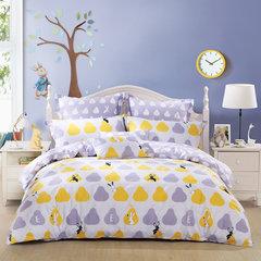 水星家纺 全棉斜纹卡通印花四件套 欢乐萌宠 儿童套件 床上用品 欢乐萌宠 1.2m(4英尺)床