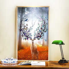 Special diamond painting full of drilling, cross stitch living room paste drilling, modern simple European style diamond embroidery, new point drilling deer bedroom [full drill] 60× 90 cm (multiple drill)