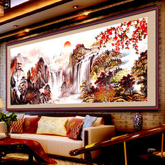 Printing cross stitch cornucopia landscape series of new living room a cross embroidered The red sun rises in sky. [195x74 cm] more than 30% lines in printing