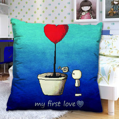 The new precision printing cross stitch pillow cartoon flowerpot beloved couple pillowcases a lovely car cushion [single] 3D printing (without pillow)