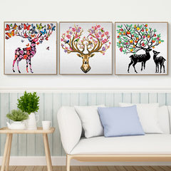Special diamond painting, new diamond embroidery, rich milu deer living room, triple painting, Diamond Cross Stitch, modern simplicity, 5D Alien drill [150x50 cm] diamond 30%