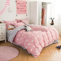牧笛纯棉卡通四件套全棉儿童套件三床品床品简约被套床上用品婚庆 爱心无限N 1.5m(5英尺)床