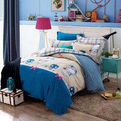 牧笛纯棉卡通四件套全棉儿童套件三床品床品简约被套床上用品婚庆 玛雅女孩N 1.5m(5英尺)床