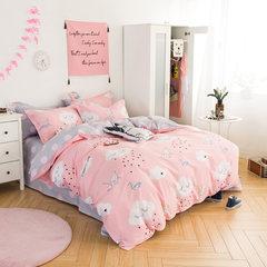 牧笛纯棉卡通四件套全棉儿童套件三床品床品简约被套床上用品婚庆 千纸鹤N 1.5m(5英尺)床