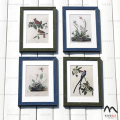 American country photos, wall retro, old garden plants, flowers and birds, living room, dining room, European style, high-end creative combination Combination A (including 4 paintings)