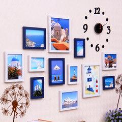 天天特价客厅卧室照片墙装饰相框墙挂墙相框组合墙上面欧式相片墙 白+深蓝(地中海)B款