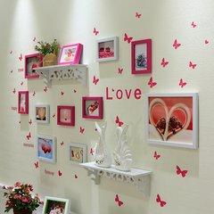 天天特价客厅卧室照片墙装饰相框墙挂墙相框组合墙上面欧式相片墙 10B白玫(置物架)D款
