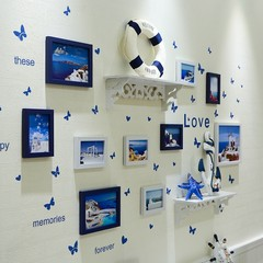 天天特价客厅卧室照片墙装饰相框墙挂墙相框组合墙上面欧式相片墙 10B白蓝(置物架)D款