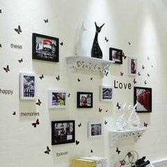 天天特价客厅卧室照片墙装饰相框墙挂墙相框组合墙上面欧式相片墙 10B黑白(置物架)D款