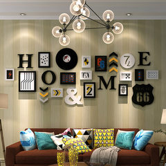 Photo wall, picture frame, wall simple, modern one side wall, creative picture frame, hanging wall, combination living room, bedroom, photo wall Combination of black and white frame