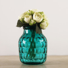 Nordic simple transparent blue ripple handmade glass vase floral decoration room are inserted in Hydroponics AL075 Small Vase + Lian Lu.