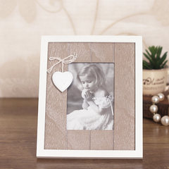 Zakka wooden photo frame, love Creative Desktop Photo Frame, lovers hanging wall retro frame 5 inches, 6 inches, 7 inches Photo frame 5 inch brown 21.5X17.5cm