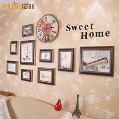 Mousika European style photo wall with retro clock, acrylic word frame combination, living room photo wall creative combination Give no trace nails and other accessories, such as glue, you can buy