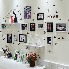 Modern minimalist wall stickers frame combination living room wall decoration and warm fan creative stickers stickers 12S black and white combination + wall stickers large