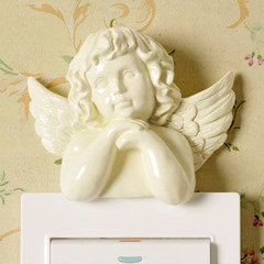 European switch stickers stickers creative resin Angel personality Home Furnishing power switch socket set decoration paste B paragraph (m white)