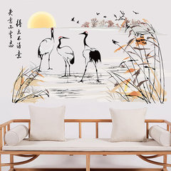 Home furnishings bedroom living room sofa TV background wall wall flower China crane Chinese calligraphy and painting inspirational wind China wind (crane cloud water) Large
