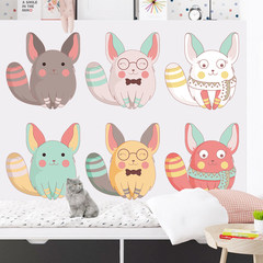 Lovely children's room decoration wall stickers stickers chinchilla waterproof self-adhesive stickers kindergarten background wall wallpaper Lovely chinchillas Large