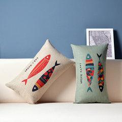 American Pastoral Nordic IKEA office sofa bed linen car pillow pillow cushion rectangular waist pillow Super square pillow: 55X55cm