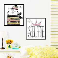 Simple wall crown cat living room backdrop simple modern beioufeng sticker self-adhesive decorative wallpaper PVC film material large