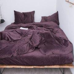 Japanese style simple and pure color bedding, autumn and winter warm velvet four piece short plush antistatic velvet kit bedspread velvet deep purple 2.0m (6.6 ft) bed