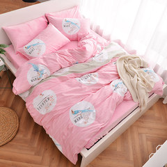 Winter warm, thickened, velvet kit, pure cotton, crystal velvet, velvet, velvet, cotton, velvet, four piece bed, 1.2m (4 ft) bed.