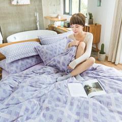 Autumn winter, warm, warm, ultra soft, 3D stereoscopic carved cashmere, four sets of beauty, small fresh velvet, linen, Li, 3D, Karbin (purple) 1.5m (5 feet) bed