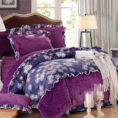 Bedding, Korean version, coral velvet, four piece set, thickening warm flannel set, winter flannel four piece kaleidoscope 1.5m (5 feet) bed