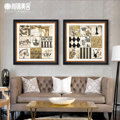 Is the European style of modern American homes Jinmei decorative painting the living room sofa background study two paintings of shipping 60*60 Simple white clean frame Home brand originality