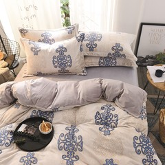 Nordic wind super soft baby velvet four piece autumn winter warming kit fluffy sheet quilt 1.5m1.8m bed hat, bed hat Luo Dina blue 1.5m (5 ft) bed