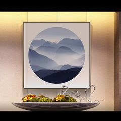 Abstract Chinese ink painting, modern simplicity, new Chinese landscape painting, living room entrance decoration painting, sofa wall painting 40*40 Simple white clean frame Oil film laminating + low reflective organic glass