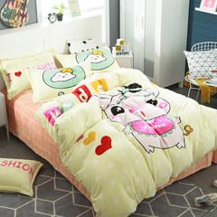 Cartoon coral fleece four piece thickening warm flannel kit bedsheets quilt fleece, winter bedding, pig girl 1.5m (5 feet) bed