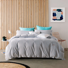 Autumn and winter warm cotton 60S Xinjiang long staple cotton sanding technology four sets of stripes simplified series suites (blue) L code to enlarge the size (quilt 220*240)