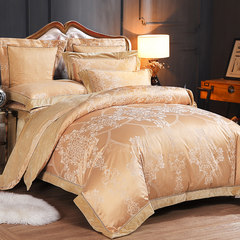 European jacquard coral fleece four piece thick flannel bedding quilt warm 1.8 winter sanding Kit Seven piece suit Camel yellow Small 1.8m bed (with 200x230 quilt cover)