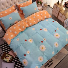 Cotton wool, baby velvet, four piece set, thickened crystal pile bedspread, coral velvet, four piece set, bedding, warmth set, bed sheet, light blue 1.5m (5 feet) bed.