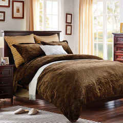 England rose winter warm and thickened pure color quilt kit 1.5/1.8m bed double flannel four piece brown brown [spot] 1.5m (5 ft) bed