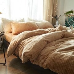Japanese style pure color simple bedspread wool cloth four piece sets of autumn and winter thickening, heat preservation, anti static velvet bedding, bedding, storage, wet cloth, camel 1.5m (5 feet) bed.