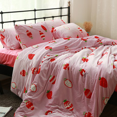Coral velvet, velvet, four pieces of baby cashmere, thickened crystal pile, quilt, bedding, bedding set, strawberry girl 1.2m (4 feet) bed.