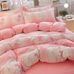 The winter is super thick, warm, soft, baby, velvet, anti static, 5D carved velvet four piece 1.8 bed bed product kit, bed sheet Hello Kitty powder 1.5m (5 feet) bed.