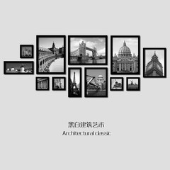 European architecture classic black and white picture wall, living room, frame painting, decorative painting, modern combination of hanging mural painting