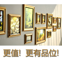 Photo wall combination photo frame creative value oil painting wall hanging whole wall oil painting frame containing rural fragrance three HQ3 150x180cm Pink