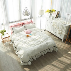 Japanese Style Lace washed cotton simple white full cotton quilt jacket four piece set pure cotton small refreshing bedding kit modern girl white 1.5m (5 ft) bed