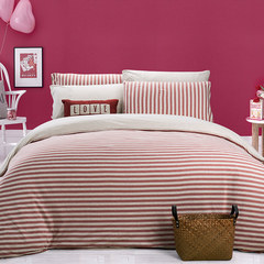 Kasen home textile pure cotton printed bedding, cotton four piece set, knitted cotton bedclothes kit, knitted cotton four piece - Orange 1.5m (5 ft) bed.