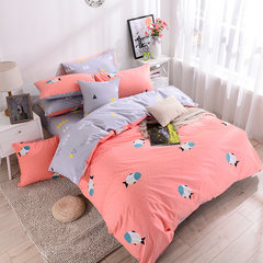 Nordic wind cotton four piece set simple bed sheet 4 piece set of Japanese cute bedding cartoon little refreshing kit Mini fish NiMo 1.5m (5 ft) bed