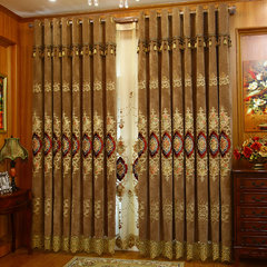 Cashmere like European style curtain, luxurious living room, luxurious thickening window, French window, air embroidered finished cloth Without shade head + flat YND1081 deep coffee