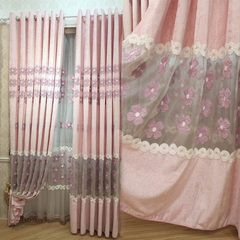 Romantic pink girl room bedroom curtains Custom Embroidered curtain cloth semi pastoral Piaochuang shade products With head curtain + flat Yarn per metre