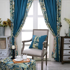 American Retro Blue Cotton cloth curtain curtain pastoral living room custom finished bedroom windows windows Without shade head + flat Punching style