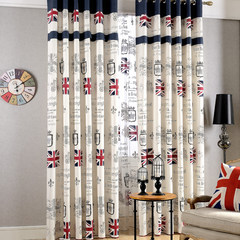 European flag linen cotton and linen curtain, shading boys, girls, children's rooms, study rooms, bedroom curtain cloth without curtain heads + flat type flag, blue cloth splicing as shown.