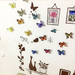 Wall stickers background bedside wall stereo background simulation 3D stereo Butterfly Stickers pasted stickers window glass